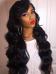 Women Human Hair Lace Wig Brazilian Human Hair Lace Front 130% Density Layered Haircut With Baby Hair Body Wave Wig Black Medium Brown