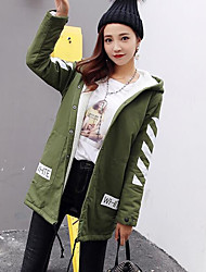 Women's Going out Casual/Daily Street chic Fall Winter Trench Coat,Solid Hooded Long Sleeve Regular Wool