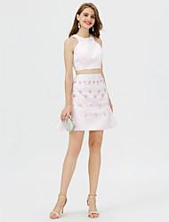 Corte en A Joya Corta / Mini Satén Fiesta de Cóctel Vestido con Detalles de Cristal por TS Couture®