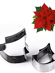 cheap -3Pcs/set Stainless Steel Poinsettia Flower Cookie Cutter Fondant Mold Cake Decorating Tools