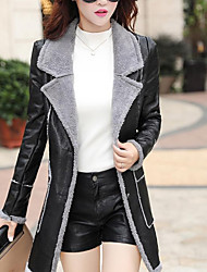 cheap -Women's Street chic PU Fur Coat-Solid Colored V Neck