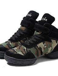 cheap -Women's Dance Sneakers Canvas Split Sole Outdoor Customized Heel Army Green Customizable