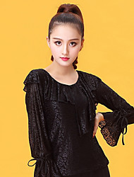 cheap -Latin Dance Tops Women's Performance Ice Silk Pleated Long Sleeve Top