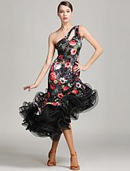 Dança Latina Vestidos Mulheres Apresentação Veludo Sem Mangas Natural Vestido