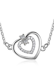 Women's Pendant Necklaces Diamond Heart Sterling Silver Cute Style Jewelry For Gift Valentine