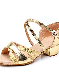 cheap -Women's Kids' Dance Shoes Paillette Sandal / Heel / Sneaker Sequin / Sparkling Glitter / Buckle Chunky Heel Customizable Dance Shoes Gold