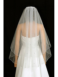 cheap -Two-tier Wedding Veil Blusher Veils Fingertip Veils With Rhinestones Ruched Tulle