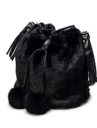 cheap -Women Bags Velvet Fur Shoulder Bag Feathers / Fur for All Seasons Black Gray Dark Brown Light Grey