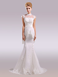 cheap -Mermaid / Trumpet High Neck Court Train Lace Satin Wedding Dress with Beading Appliques Lace by Nameilisha