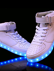 cheap -Men's Shoes PVC Leather Leatherette Fall Winter Light Up Shoes Comfort Athletic Shoes Walking Shoes Magic Tape LED Lace-up For Athletic