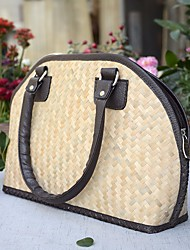 Women Bags Summer Straw Tote Zipper for Casual Light Gray