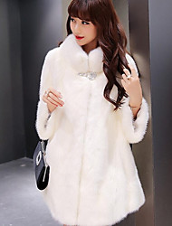 cheap -Women's Simple Casual Faux Fur Fur Coat-Solid Colored Stand