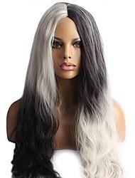 Femme Perruque Synthétique Long Ondulé Ondulation Naturelle Ondulation profonde Noir blanc Au Milieu Perruque de Cosplay Perruque de fête