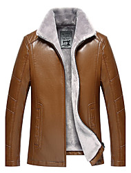 Men's Casual/Daily Simple Winter Leather Jacket,Solid Stand Long Sleeve Regular Lamb Fur