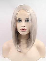cheap -Women Synthetic Wig Lace Front Short Straight Silver Natural Hairline Natural Wigs Costume Wig