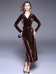 cheap -Women's Daily Sheath Dress,Solid V Neck Maxi Long Sleeves Polyester Winter Fall High Rise Micro-elastic Medium