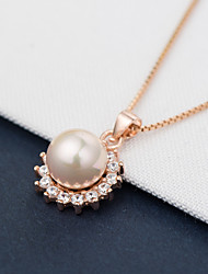 cheap -Women's Flower Sexy Friendship Pendant Necklace Pearl Pearl Sterling Silver Imitation Pearl Pink Pearl Gold Pearl Pendant Necklace , Gift