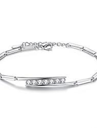 preiswerte -Damen Kubikzirkonia Sterling Silber Ketten- & Glieder-Armbänder - Geometrische Form Silber Purpur Armbänder Für Hochzeit Party