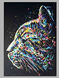cheap -Hand-Painted Pop Art Vertical, Artistic Cool Office/Business Modern/Contemporary New Year's Christmas Canvas Oil Painting Home Decoration