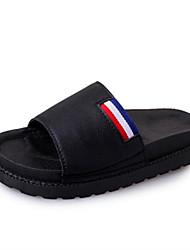 Women's Shoes PU Spring Summer Comfort Light Soles Slippers & Flip-Flops Flat Heel Open Toe Split Joint For Casual White Black Light gray
