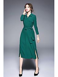Feminino Camisa Vestido,Casual Trabalho Simples Moda de Rua Sólido Colarinho de Camisa Médio Manga Longa Poliéster Outono Inverno Cintura