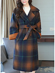 cheap -Women's Daily Going out Street chic Winter Fall Coat,Plaid Peaked Lapel Long Wool Polyester