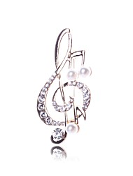 cheap -Women's Music Notes Rhinestone / Imitation Pearl Imitation Pearl Brooches - Silver Brooch For Daily / Going out