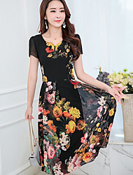Women's Going out Casual/Daily Simple Cute Sheath Chiffon Dress,Floral V Neck Midi Short Sleeves Cotton Summer Mid Rise Inelastic Opaque
