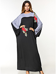 cheap -Women's Batwing Sleeve Jalabiya Dress - Embroidered Maxi