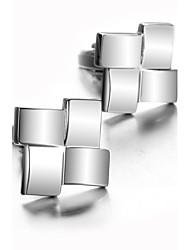 baratos -Forma Geométrica Prata Botões de Punho Estampado Homens Jóias de fantasia Para