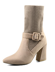 cheap -Women's Shoes Knit Nubuck leather Fall Winter Bootie Slouch Boots Boots Block Heel Pointed Toe Booties/Ankle Boots Buckle For Casual