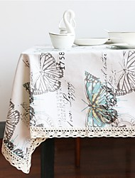 cheap -Linen / Cotton Blend Rectangular / Square Table cloths Butterfly Eco-friendly Table Decorations 1 pcs