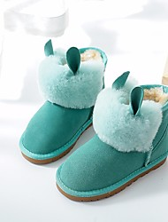 Girls' Shoes Cowhide Winter Snow Boots Boots Booties/Ankle Boots For Casual Khaki Blushing Pink Green Fuchsia Purple