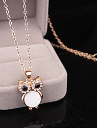 Women's Pendant Necklaces Owl Rhinestone Alloy Animal Design Fashion Jewelry For Daily Evening Party