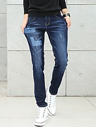 Men's Mid Rise Micro-elastic Skinny Jeans PantsSimple Slim Solid Geometric