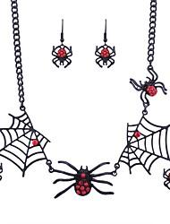 Femme Boucles d'oreille goutte Collier Halloween Plein Air Alliage Araignées Collier Boucles d'oreille