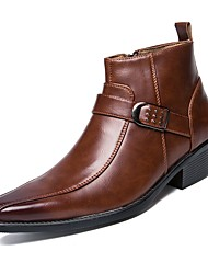 cheap -Men's Shoes PU Spring / Fall Comfort / Cowboy / Western Boots / Fashion Boots Boots Booties / Ankle Boots Black / Dark Brown