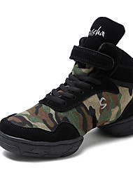 cheap -Men's Dance Sneakers Canvas Split Sole Daily Customized Heel Army Green Customizable