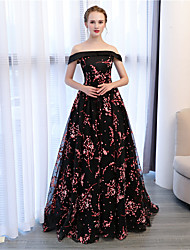 cheap -Ball Gown Off-the-shoulder Court Train Lace Satin Formal Evening Dress with by Embroidered Bridal