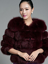 cheap -Women's Daily Simple Casual Winter Fall Fur Coat,Solid Round Neck Short Fox Fur