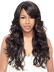 cheap -Women Human Hair Lace Wig Brazilian Human Hair Lace Front 130% Density Body Wave Wig Medium Brown Dark Brown Black Dark Black Long
