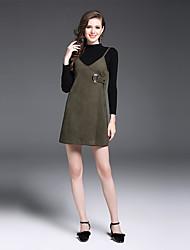 Feminino Suéter Saia Conjuntos Casual Trabalho Sofisticado Outono,Sólido Decote Redondo Manga Longa Micro-Elástica