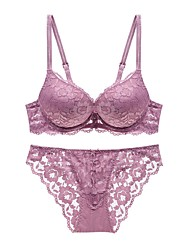 5/8 cup Bras & Panties Sets,Push-up Strapped Lace Bras Padded Bras Underwire Bra Cotton Polyester Nylon
