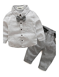 cheap -Baby Boys' Daily Striped Clothing Set, Cotton Fall Long Sleeves Gray