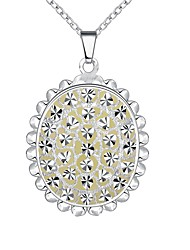 cheap -Women's Flower Cubic Zirconia Zircon Silver Plated Pendant Necklace Chain Necklace  -  Oval Dark Blue Light Blue Light Green Necklace For