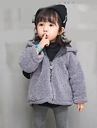 cheap -Girls' Solid Jacket & Coat,Faux Fur Winter Fall Long Sleeve Gray Khaki