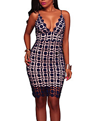 cheap -Women's Party Club Sexy Street chic Bodycon Dress,Patchwork Strap Above Knee Sleeveless Polyester Summer Fall Mid Rise Micro-elastic