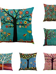 cheap -Set Of 6 Oil Paintings Plant Trees Pillow Cover Vintage Square Cushion Cover