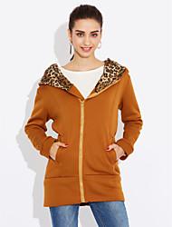 Women's Coat,Leopard Round Neck Long Sleeve Winter White / Black Cotton Thick