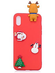 cheap -Case For Apple iPhone X iPhone 8 Pattern DIY Back Cover Christmas 3D Cartoon Soft TPU for iPhone X iPhone 8 Plus iPhone 8 iPhone 7 Plus